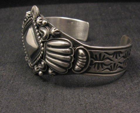 Navajo Repousse Stamped Sterling Silver Bracelet Orville