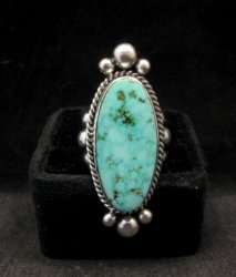 Long Native American Navajo ~ Guy Hoskie ~ Turquoise Sterling Ring sz8