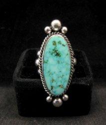 Long Native American Navajo ~ Guy Hoskie ~ Turquoise Sterling Ring sz8