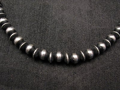 Image 1 of Native American Mixed Sterling Silver 7mm Bead Navajo Pearls Necklace 20-inch