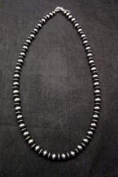 Native American Mixed Sterling Silver 7mm Bead Navajo Pearls Necklace 20-inch