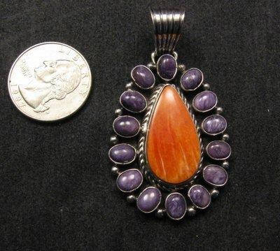Image 1 of Navajo Charoite Spiny Oyster Silver Pendant, Geneva Apachito