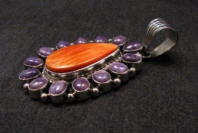 Image 2 of Navajo Charoite Spiny Oyster Silver Pendant, Geneva Apachito