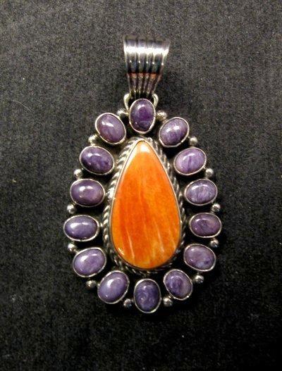 Image 0 of Navajo Charoite Spiny Oyster Silver Pendant, Geneva Apachito
