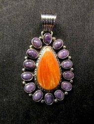 Navajo Charoite Spiny Oyster Silver Pendant, Geneva Apachito