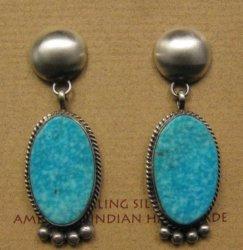 Navajo Native American 2-pc Turquoise Silver Earrings, Selena Warner