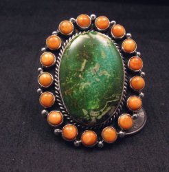 Native American Turquoise Spiny Oyster Cluster Ring sz7-3/4, La Rose Ganadonegro
