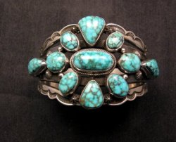 Navajo Native American Kingman Web Turquoise Silver Bracelet, Aaron Toadlena