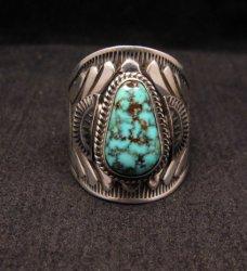 Native American Navajo Turquoise Silver Ring Sz11-3/4, Derrick Gordon