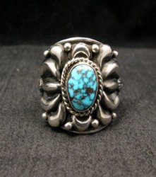 Native American Darryl Becenti Turquoise Silver Ring sz8-1/2