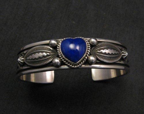 Image 0 of Narrow Navajo Native American Lapis Heart Silver Bracelet, Happy Piasso