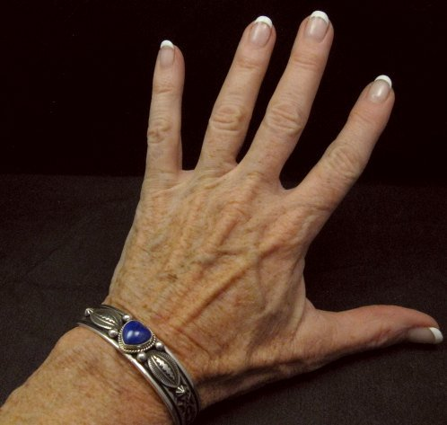 Image 2 of Narrow Navajo Native American Lapis Heart Silver Bracelet, Happy Piasso