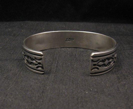 Image 4 of Narrow Navajo Native American Lapis Heart Silver Bracelet, Happy Piasso