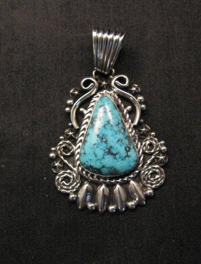 Image 0 of Big Native American Navajo Turquoise Pendant, Geneva Apachito