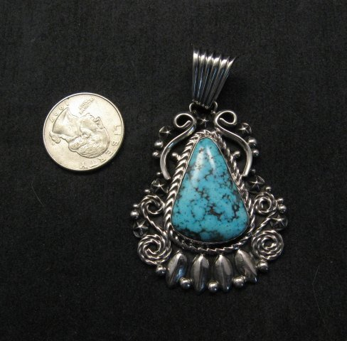 Image 1 of Big Native American Navajo Turquoise Pendant, Geneva Apachito