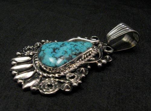 Image 2 of Big Native American Navajo Turquoise Pendant, Geneva Apachito