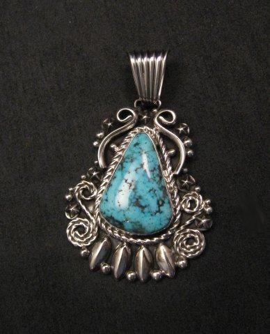 Image 3 of Big Native American Navajo Turquoise Pendant, Geneva Apachito