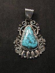 Big Native American Navajo Turquoise Pendant, Geneva Apachito