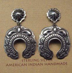 Fancy Darryl Becenti Navajo Naja Sterling Silver Earrings
