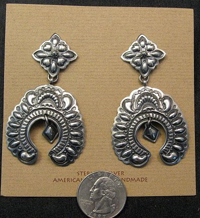 Image 1 of Very Large Darryl Becenti Navajo Naja Sterling Silver Earrings