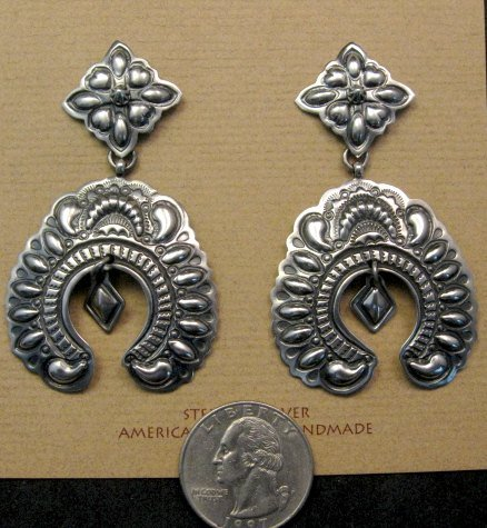 Image 3 of Very Large Darryl Becenti Navajo Naja Sterling Silver Earrings