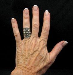 Wide Navajo Indian Reposse Sterling Silver Ring sz6, Darryl Becenti