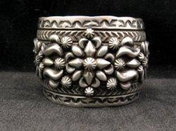 Extra-wide Darryl Becenti Navajo Stamped Sterling Silver Cuff Bracelet