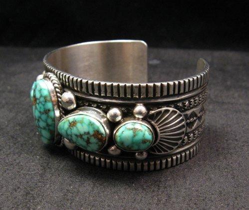 Image 3 of Navajo Native American Turquoise Silver Bracelet, Guy Hoskie