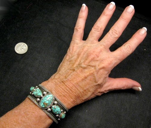 Image 4 of Navajo Native American Turquoise Silver Bracelet, Guy Hoskie