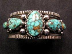 Navajo Native American Turquoise Silver Bracelet, Guy Hoskie
