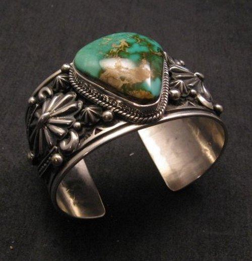 Image 2 of Albert Jake Navajo Royston Turquoise Silver Cuff Bracelet
