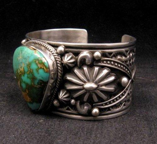 Image 1 of Albert Jake Navajo Royston Turquoise Silver Cuff Bracelet
