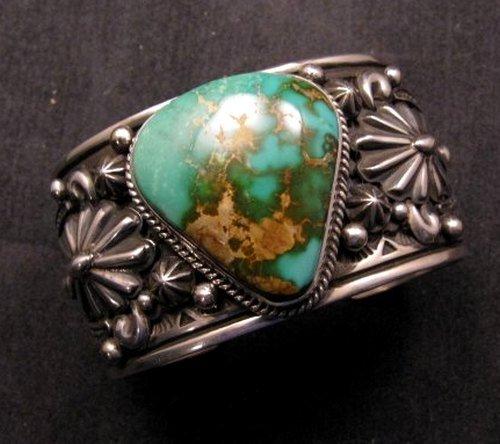 Image 0 of Albert Jake Navajo Royston Turquoise Silver Cuff Bracelet