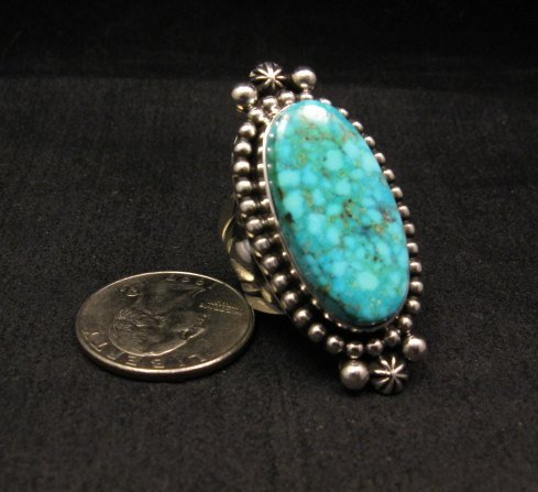 Image 1 of Long Native American Navajo ~ Guy Hoskie ~ Turquoise Silver Ring sz8-1/2