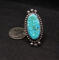 Long Native American Navajo ~ Guy Hoskie ~ Turquoise Silver Ring sz8-1/2