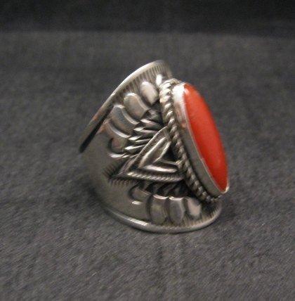 Image 1 of Wide Navajo Coral Sterling Silver Ring Sz6-3/4, Derrick Gordon