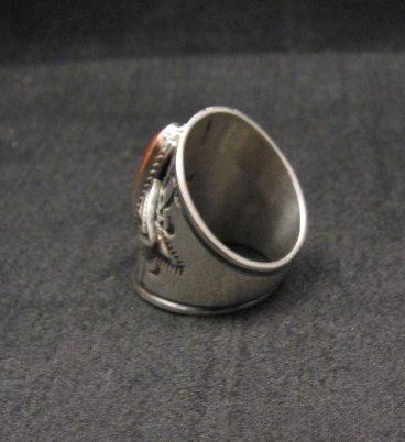 Image 2 of Wide Navajo Coral Sterling Silver Ring Sz6-3/4, Derrick Gordon