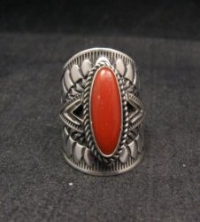 Wide Navajo Coral Sterling Silver Ring Sz6-3/4, Derrick Gordon