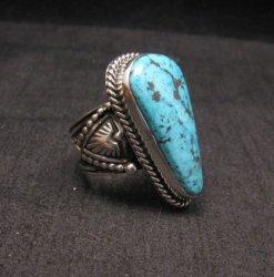 Albert Jake ~ Navajo ~ Native American Natural Turquoise S/S Ring Sz9