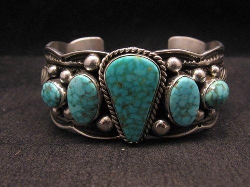 Image 0 of Navajo Native American 5-stone Turquoise Silver Bracelet, Guy Hoskie