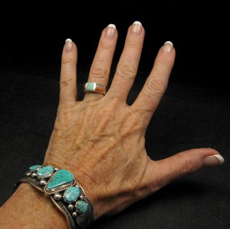 Image 1 of Navajo Native American 5-stone Turquoise Silver Bracelet, Guy Hoskie