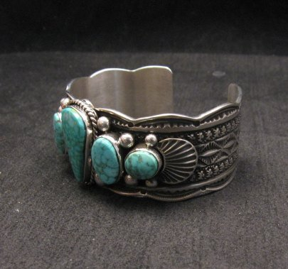 Image 3 of Navajo Native American 5-stone Turquoise Silver Bracelet, Guy Hoskie