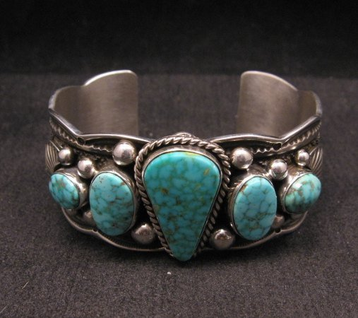 Image 5 of Navajo Native American 5-stone Turquoise Silver Bracelet, Guy Hoskie