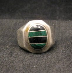 Old Mexican Malachite & Onyx Silver Ring sz10-1/2