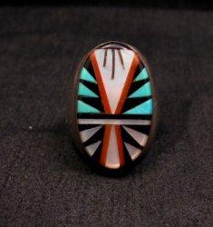 Old Zuni Multi Stone Inlay Ring, Gladys & Leslie Lamy Sz10