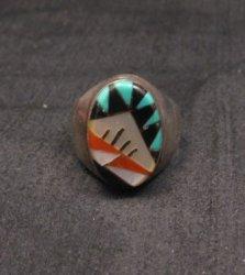 Old Zuni Multi Stone Inlay Ring, Gladys & Leslie Lamy Sz9-1/2