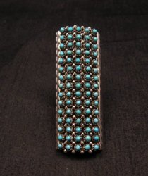 Zuni Turquoise 2-inch 15row 75stones Snake Eye Ring, Steven Haloo sz8-3/4