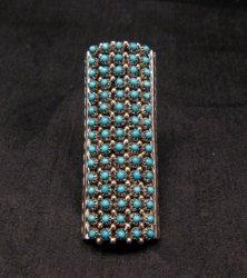 Zuni Turquoise 15row 75stones Snake Eye Ring, Steven Haloo sz7-1/2