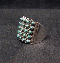 ZUNI 5row 25stones Turquoise Snake Eye Ring, Steven Haloo, sz8-3/4