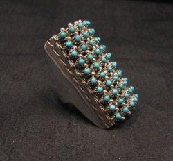 Zuni Indian 10row 50stone Turquoise Snake Eye Ring, Steven Haloo,  sz8